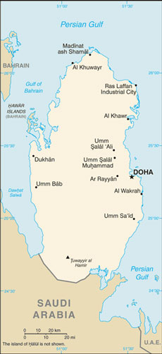 Qatar Map with Cities - Free Pictures of Country Maps on
