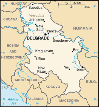 Serbia Map with Cities - Free Pictures of Country Maps