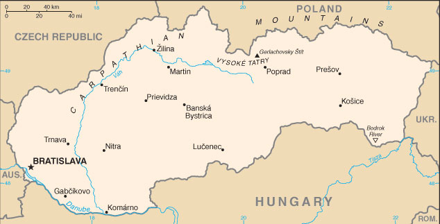Slovakia Map with Cities - Free Pictures of Country Maps