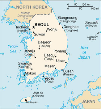 Map Of South Korean Cities South Korea Map with Cities   Free Pictures of Country Maps