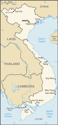 Vietnam Map with Cities - Free Pictures of Country Maps