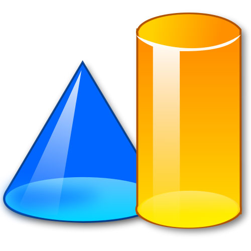 Description a colorful picture of two partially clear 3d shapes