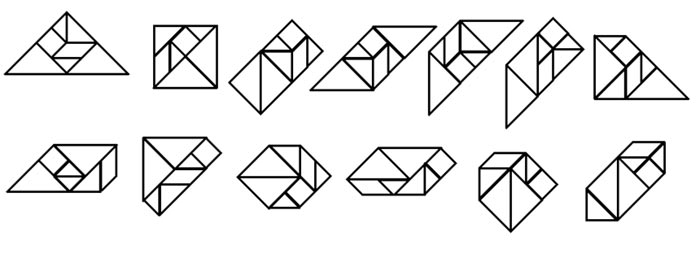 This picture shows the 13 possible convex shapes that can be made from a tangram puzzle.