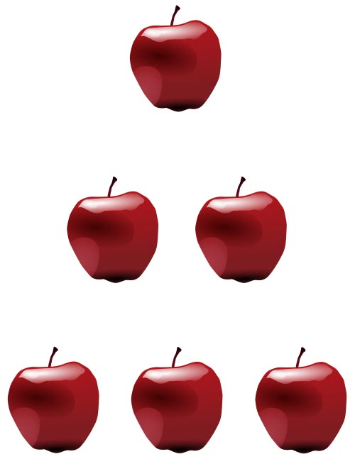 This picture shows red apples placed in a pyramid to show the natural counting numbers 1, 2, 3 and so on.
