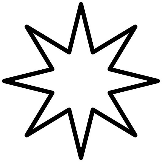 This picture is of an 8 point star with a black outline.