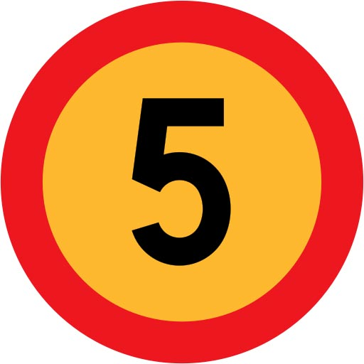 This picture shows a road sign with the number 5 written boldly in black in the center of the circle.