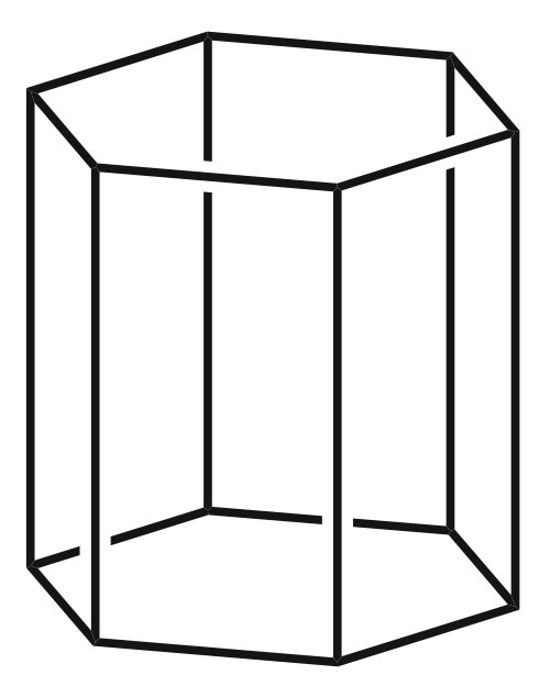 This picture shows the black outline of a hexagonal prism.