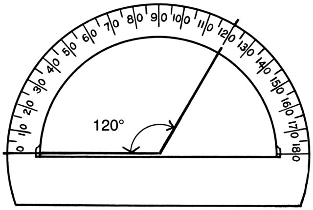 This picture shows a drawing of a protractor. The angle displayed shows 120 degrees.
