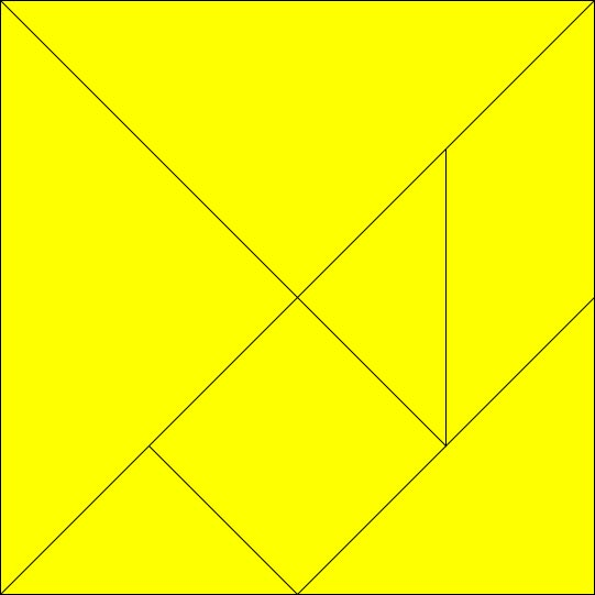 This picture is of a tangram puzzle. Tangram puzzles feature 7 pieces which can be put together to form a variety of shapes. It was invented in China before making its way to Europe and the rest of the world. Including the shape below it is possible to make 13 different convex shapes using tangram pieces.