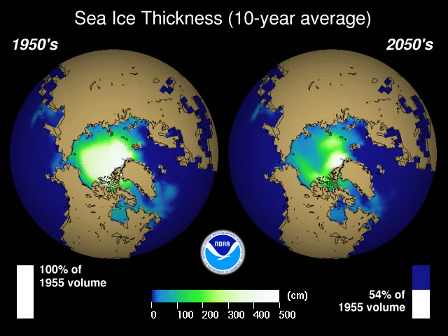 This image shows the thickness of Arctic sea ice in the 1950's compared to the projected Arctic sea ice levels 100 years later.