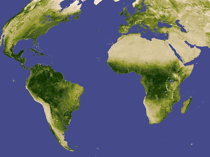 This picture helps show global vegetation levels. Looking at the image it is clear to see that some areas are rich in vegetation while others are not. Vegetation levels are vital for humans living around the world, satellites monitor the amount of vegetation which helps scientists understand the effect that natural processes such as droughts have.