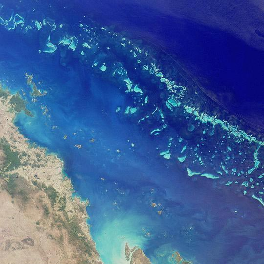 This beautiful satellite image shows the Great Barrier Reef in Australia. The Great Barrier Reef is the world's largest reef system and also the world's largest living structure. It is located off the coast of north-eastern Australia.