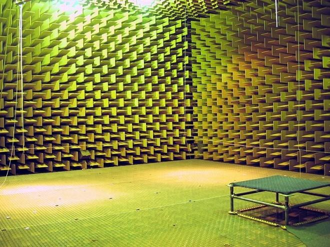 A photo taken from the inside of an anechoic chamber. The effect of rebounding sound waves is kept to a minimum in such an anechoic chamber thanks to the large surface area that absorbs most of the noise.
