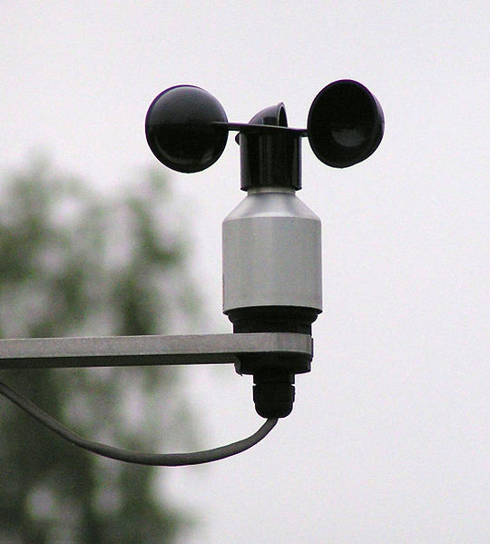This photo shows an anemometer, a weather measurement device used to gauge the strength of the wind.
