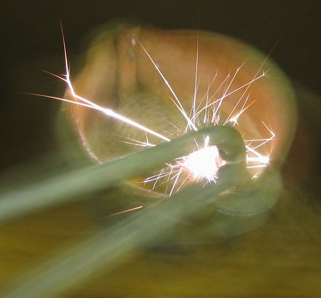 A close up photo showing the bright light produced by a flint lighter spark.