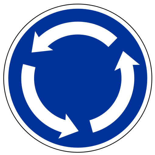 This rotation symbol can be used to mean a number of different things. It could represent recycling, a round about traffic sign or the circulation process of water. It is blue and features three large white arrows.