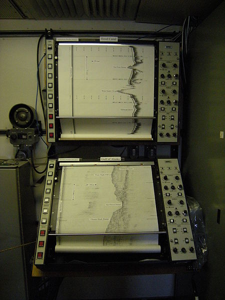 This photo shows sonar profiles in the navigation room of a US research vessel.