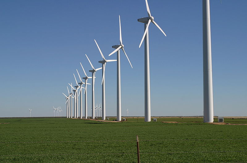 Taken on a beautifully sunny day, this photo shows a large wind farm near Texas, USA. Strong winds in the area help spin the blades which create electricity in an environmentally friendly manner.