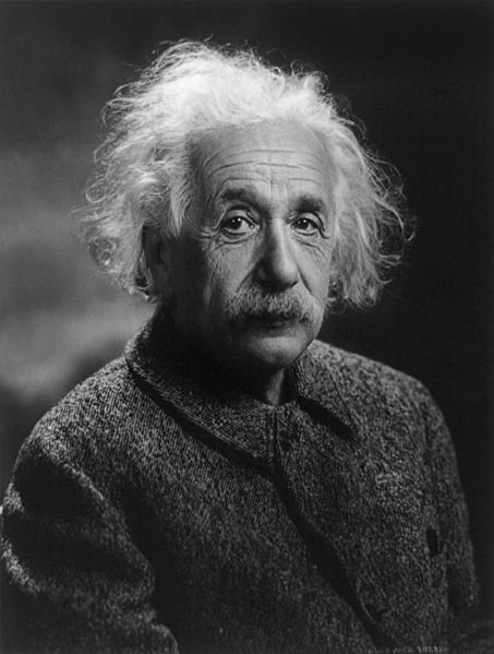 A black and white photo of Albert Einstein.