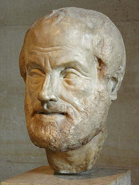 This photo shows a statue of Aristotle, a famous Greek philosopher who contributed many ideas to science.