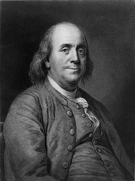 This is a black and white image of Benjamin Franklin, one of the founding fathers of the United States of America and a leading scientist who made discoveries related to electricity.