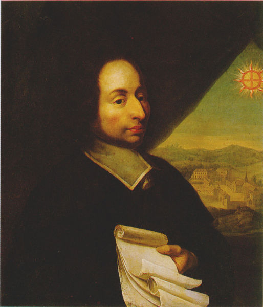 This image is of French physicist Blaise Pascal. He developed work on natural and applied sciences as well being a skilled mathematician and religious philosopher.