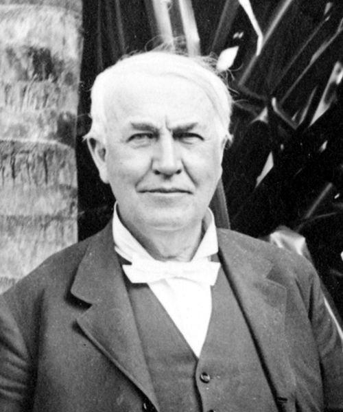 This is a black and white photo of a famous American inventor named Thomas Edison. His many inventions included the practical electric light bulb and phonograph (a device used to play recorded sound).