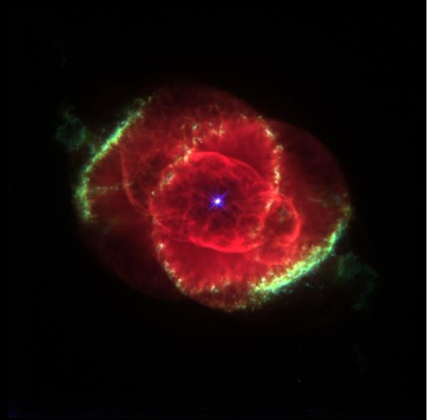 A stunning photo taken by the Hubble Space Telescope of the Cat's Eye Nebula.