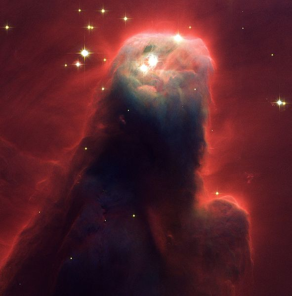 A photo taken of the Cone Nebula by the Hubble Space Telescope.