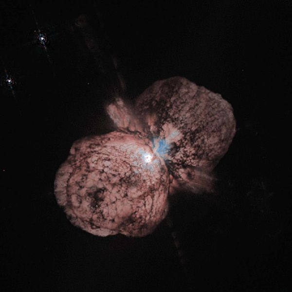 A remarkable Hubble Space Telescope photo of Eta Carinae, a super massive star found deep in space.