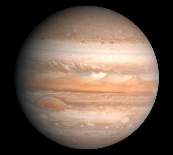 A large photo of Jupiter, the largest planet in our solar system.