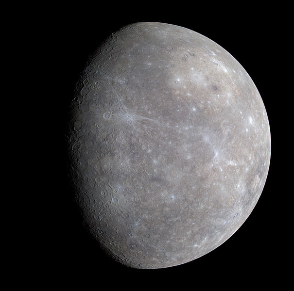 A photo of the planet Mercury showing its rugged, scarred surface which looks similar to that of the Earth's moon.