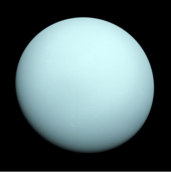 A photo taken of the planet Uranus by Voyager 2.