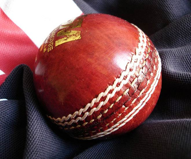 This photo is of a red leather cricket ball with a white seam.