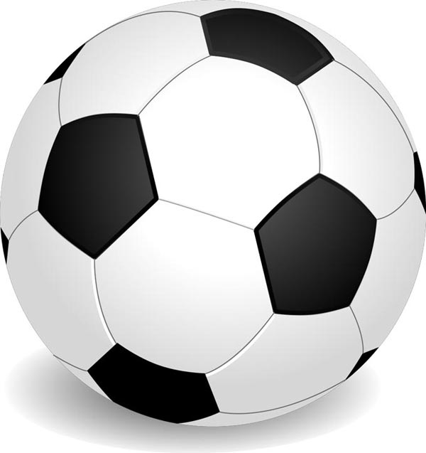 A large clip art football (soccer ball) with a hexagonal pattern featuring a number of white and black panels.