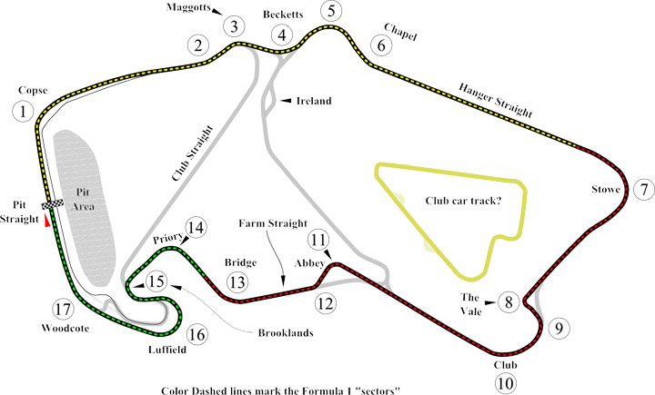 this silverstone circuit diagram labels all the different corners and  sections of this famous motor racing
