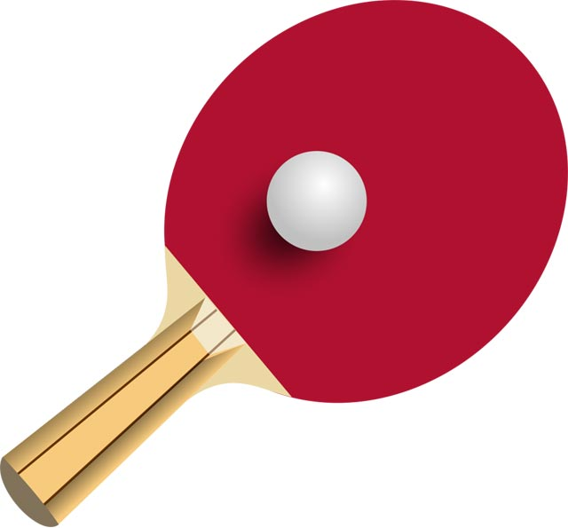 This clip art image is of a table tennis bat and ball.