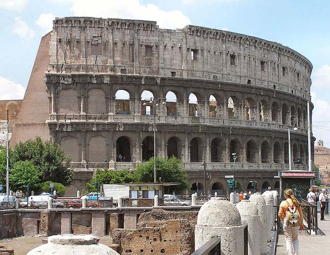The famous Colosseum in Rome, Italy was built over 2000 years ago. It was the largest amphitheatre built during the Roman Empire and could seat around 50000 people. It was home to many performance and gladiatorial contests and I now a popular tourist attraction.