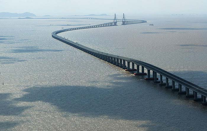 The Donghai Bridge in China is one of the longest bridges in the world. Opened in 2008, it connects Shanghai and the Yangshan deep water port. Its incredible length can be seen in this photo.