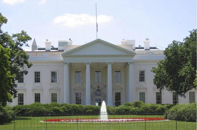 This image is of the north side of the White House located in Washington D.C., USA. The White House is the official residence of the President of the United States of America and is a well known landmark that attracts many visitors every year.