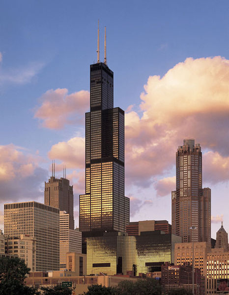 Formerly known as Sears Tower, the Willis Tower was the tallest building in the world when it was completed in 1973. It has since lost that title but at 442 metres tall (1451 feet) in height, it is still an impressively tall building. Located in Chicago, USA, the Willis Tower features 108 floors.
