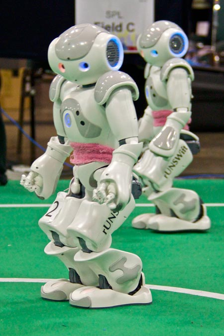 This photo shows two Nao robots performing at an exhibition. Nao is a humanoid robot made by Aldebaran Robotics. It is used in RoboCup competitions and can complete complex dance routines.