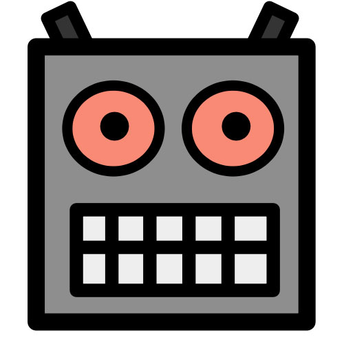 This picture shows a cartoon robot head with big eyes and a wide, robotic grin.