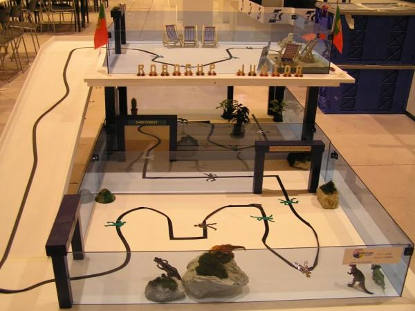 This photo shows a Robocup Junior robotics course designed to challenge students to create a robot capable of completing the course with in a given time limit. The key element to this challenge is in the robots ability to effectively follow the black line at a good speed.