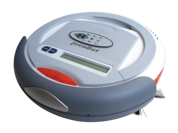 This photo shows a picaBot robot vacuum cleaner. These cool looking robots clean, sweep and vacuum floors while running on rechargable batteries.