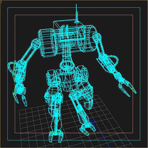 This picture shows a computer generated robot wire frame model. The robot is humanoid shaped with two arms and two legs.