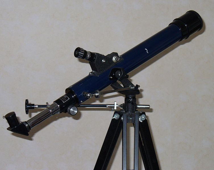 This photo shows a common telescope used to observe the stars and other astronomy related objects seen in the night sky such as planets, moons and comets.