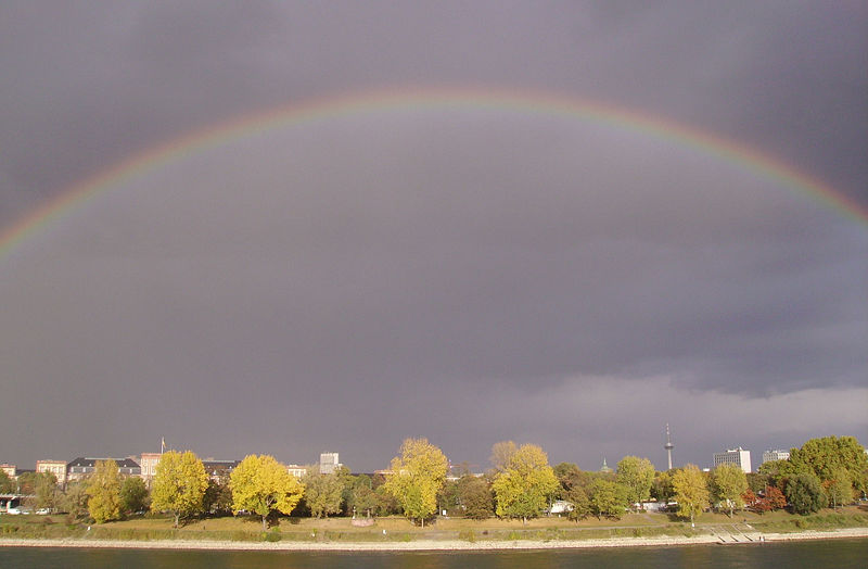 A beautiful rainbow stretches across the sky after a rain shower on a cloudy day in Mannheim, Germany.