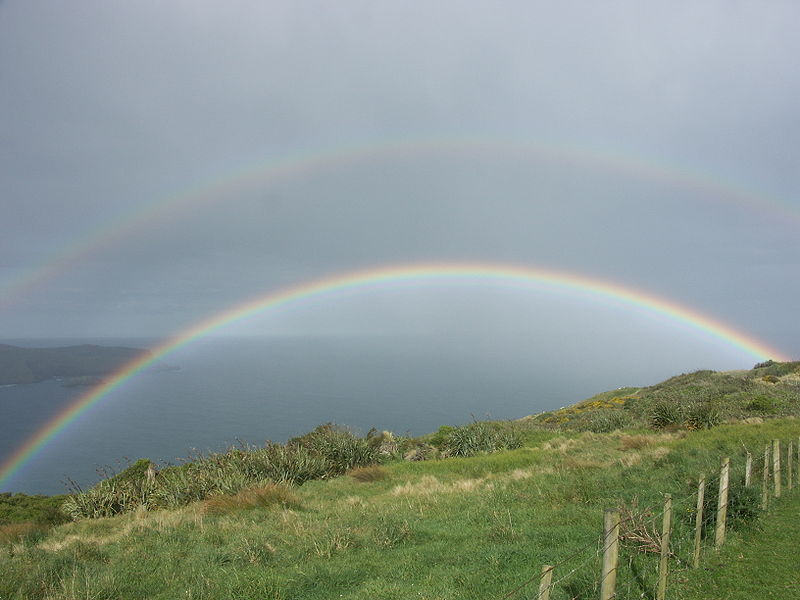 A magnificent double rainbow is caught on camera in this photo taken during a light shower on the Otago Peninsula in New Zealand.