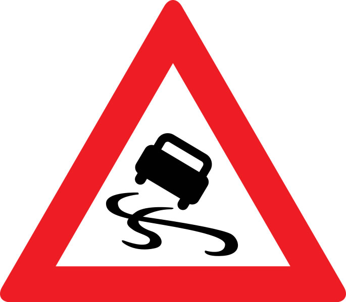 This slippery surface warning sign is used to alert drivers of an impending danger that could end in an accident. The inside of the sign shows a car slipping around on a surface such as ice while the outside is framed by a large red triangle.